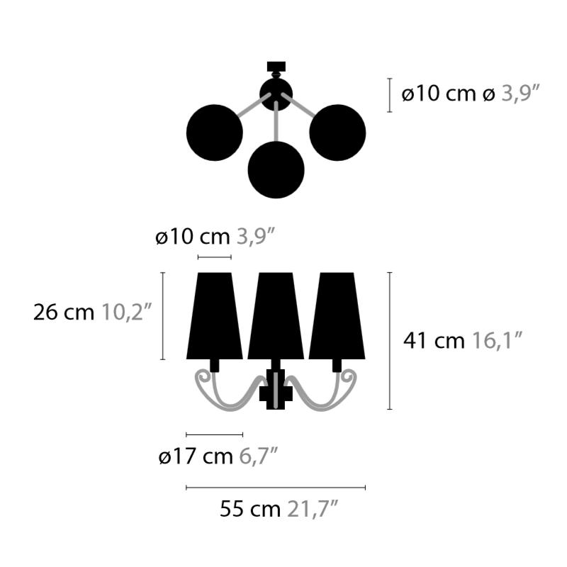 Maten - Wandlamp - Arabian Pearls W3 - Ilfari
