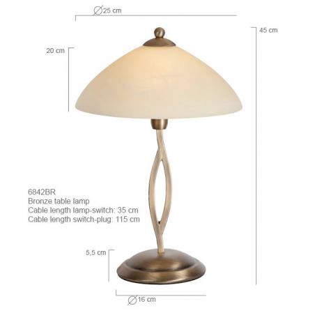 Maten - Tafellamp 6842BR Capri - Steinhauer