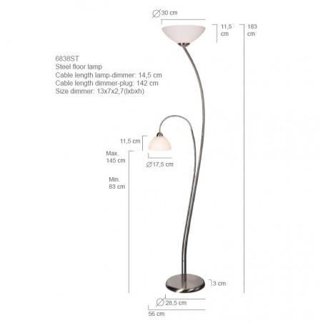 Maten - Voerlamp 6838ST Capri - Steinhauer