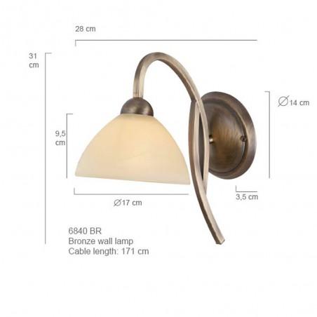 Maten - Wandlamp 6840BR Capri - Steinhauer