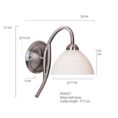 Maten - Wandlamp 6840ST Capri - Steinhauer