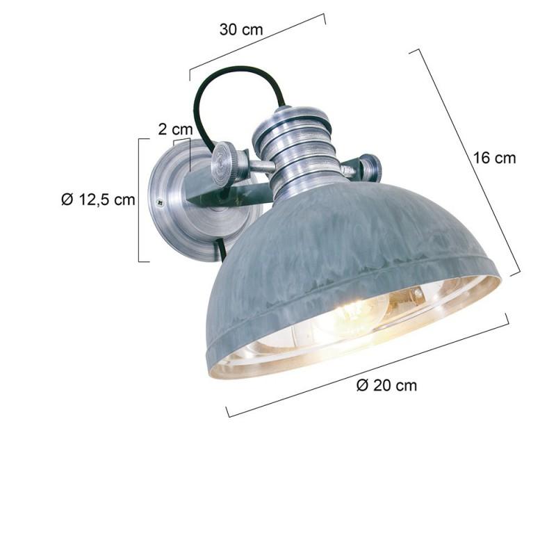 Maten - Wandlamp 7717GR Brooklyn Grijs - Steinhauer