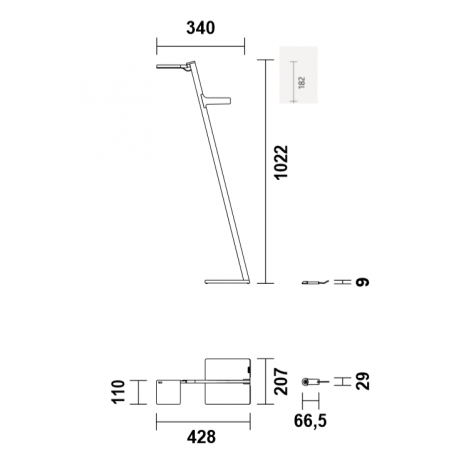 Maten - Draadloze LED vloerlamp - Roxxane Leggera 101 CL