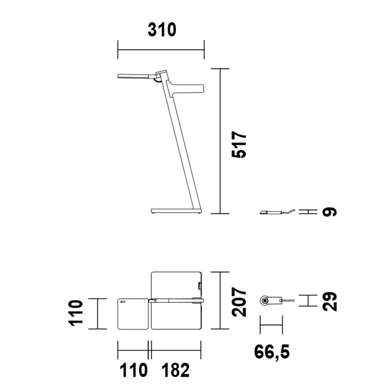 Maten - Draadloze LED tafellamp - Roxxane Leggera 52 CL