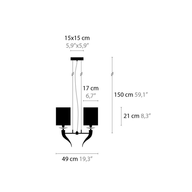 maten Hanglamp Loving Arms H10 - Ilfar 1