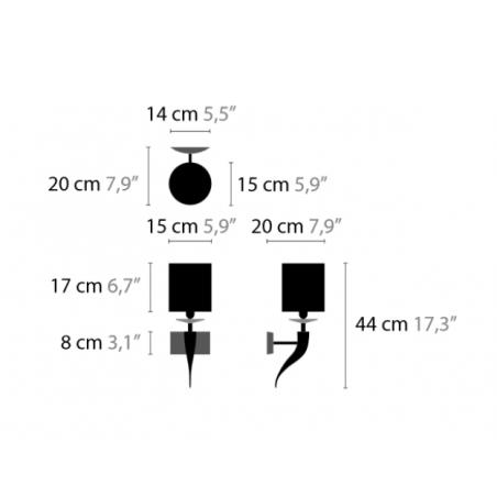 Maten Wandlamp Loving Arms W1 - Ilfari
