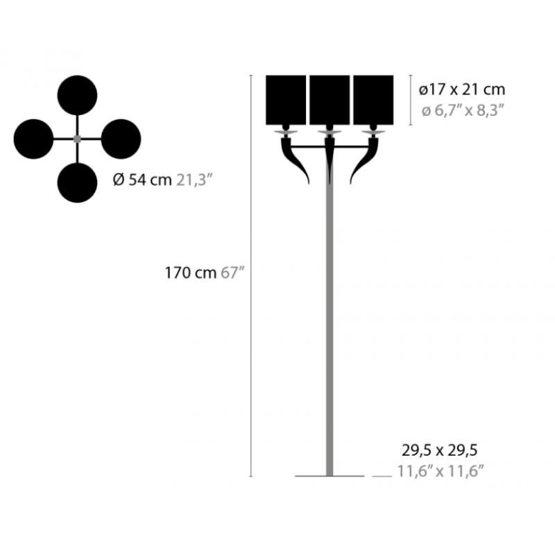 Maten Vloerlamp Loving Arms F4 - Ilfari