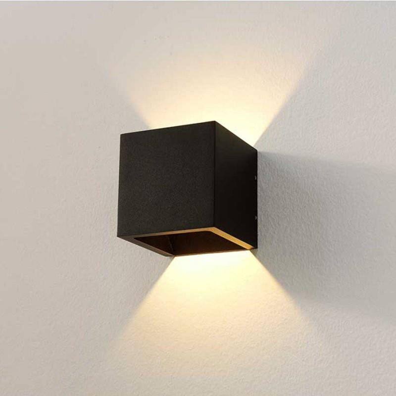 LED wandlamp 8957 cube zwart - Artdelight