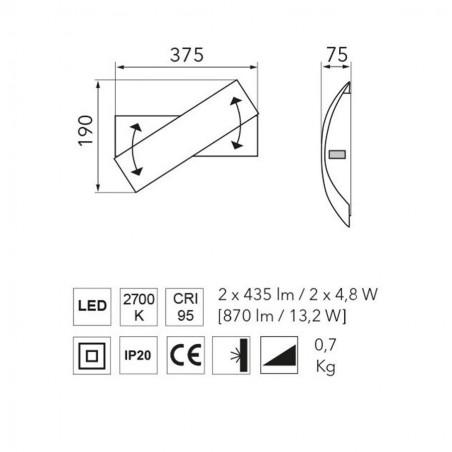 Maten - LED wandlamp 8330 Calimero - Grossman
