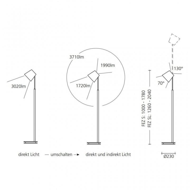 Maten - LED vloerlamp 9634 FEZ S - Baltensweiler