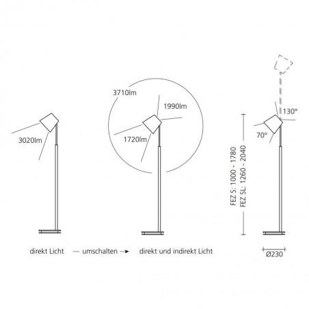 Maten - LED vloerlamp 9635 FEZ S - Baltensweiler