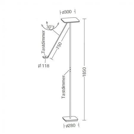 Maten - LED vloerlamp 9501 Plano vierkant - Holtkotter