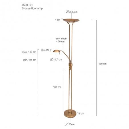 Maten - LED vloerlamp 7500BR Mexlite - Steinhauer