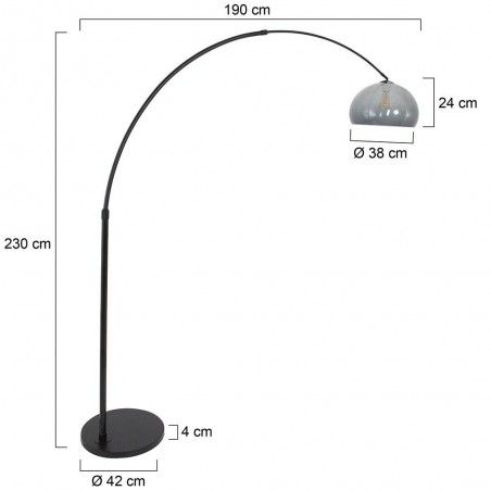 Maten - Vloerlamp 9878ZW Stresa - Steinhauer