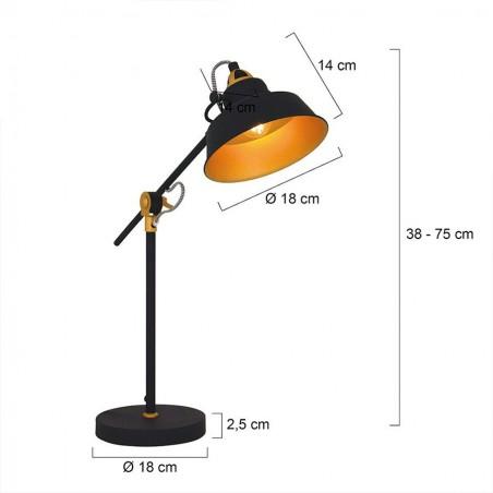 Maten - Tafellamp 1321ZW Mexlite Nové - Steinhauer