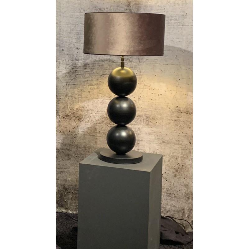 Tafellampen - LB993TL Boss black textured taupe kap - L&B