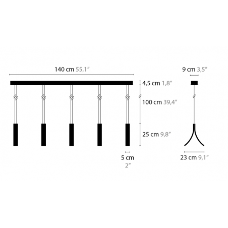 Maten - Hanglamp - Stream H5 - Ilfari