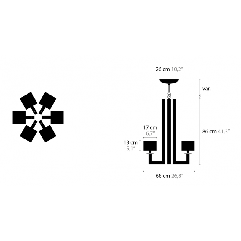 Maten - Hanglamp - Swinging Ballet H6 - Ilfari