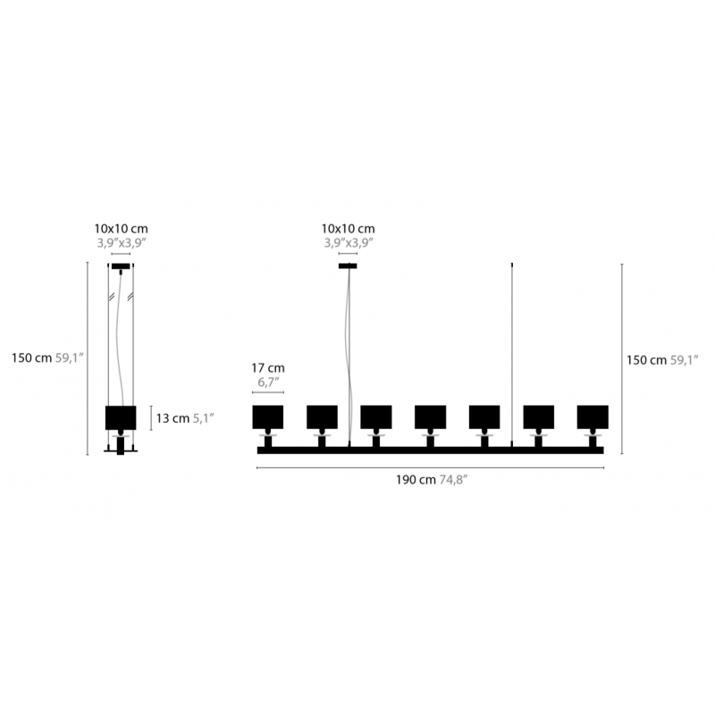 Maten - Hanglamp - Swinging Ballet H7 - Ilfari